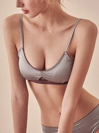 51e5c3db2d High Quality Satin Solid Straps wireless Bralette Underwear Set Noble Girl  Lingerie Set Comfortable Thin cup Sexy Bra And Panty Sets