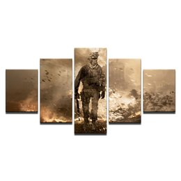 adventure games Promo Codes - 5 Pcs Combinations HD shooting games War Heros Adventure Game Framed Canvas Painting Wall Decoration Printed Oil Painting poster
