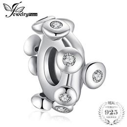 2019 deslizador pulsera de cuentas espaciadoras JewelryPalace White Cubic Zirconia Petty Leaf Dangle Bead Charm Fit pulseras 925 plata esterlina Charm moda joyería de las mujeres