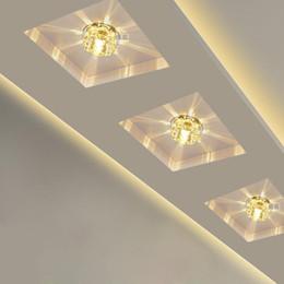 plafonniers modernes led Promotion Cristal moderne LED Spot Spot Couloir Couloir Couloir Couloir Allée Porche Plafond Monté Encastré Lampe Home Decor Balcon Escaliers Luminaire