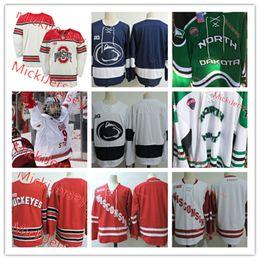 autêntica camisa de hóquei nhl Desconto Mens NCAA North Dakota A luta Hawks Hockey Jersey costurado em branco Wisconsin Badgers Penn State Nittany Lions Ohio State Buckeyes Jerseys
