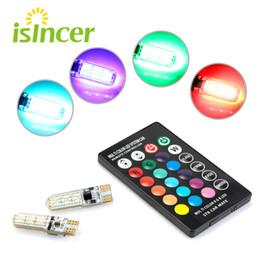 Controlador de domo online-RGB T10 W5W Led 194 168 W5W 5050 SMD Cúpula del automóvil Luz de lectura Automóviles Lámpara de cuña Bombilla LED RGB con control remoto Luz del coche