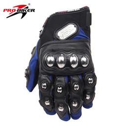 Lange blaue handschuhe online-Großhandels-PRO-BIKER Motobike Motorrad-voller Finger-Sport, der langes Handschuh-Bewegungshandschuh-Blau M L XL Handschuh-Motorrad läuft