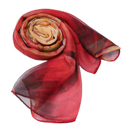 chiffon neckerchiefs Promo Codes - 1PC Fashion Women Chiffon Scarves Long Soft Wrap Scarf Lotus Printing Ladies Shawls Soft Silk Scarves Fantastic Neckerchief New