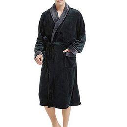 f164bf37d2 Bathrobe Men Thick Fleece Winter Male Dressing Gown Towel Sleepwear Solid  Nightgown Kimono For Long Flannel Pyjamas 25