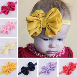 Foto di colore dei capelli online-Baby Hair Band Turban Grandi accessori per capelli Bowknot Moda stile di colore luminoso per regalo di compleanno e foto Prop