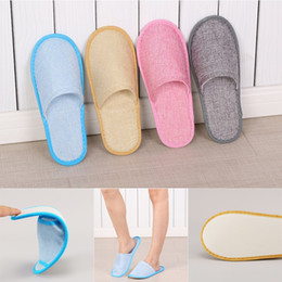linen slippers Coupons - 2pcs lot Hotel Disposable Slippers Anti-slip Home Adult Guest Shoes Comfortable Breathable Soft Cotton Linen One-time Slippers DBC VT0506