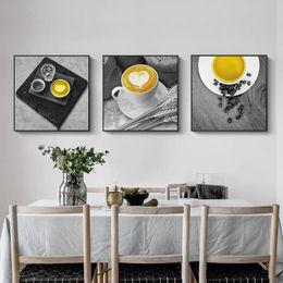 kaffee leinwand bild Rabatt Gelbe Kaffeetasse Nordic Leinwand Malerei Print Wand Kunst Sweet Home Decor moderne Poster Wohnzimmer Bild Art Decor Malerei