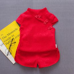 Conjuntos de ropa de niñas chinas online-Baby Girl Clothes Set Summer 2019 Botón de manga corta de encaje de algodón cheongsam Estilo chino Lovely Children Girl Clothes Set