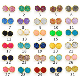 heart resin jewelry Coupons - Stainless steel Hypoallergenic Earrings 30 color 12MM druzy Resin stone Stud Gold Silver Ear Rings For women Luxury Jewelry Gift