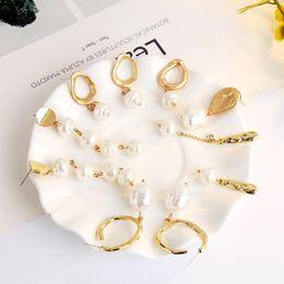 Orecchini di goccia naturale della perla online-2019 9 stili classico fascino perle naturali Vintage ORECCHINI fascino lunghi orecchini di goccia per monili delle donne del partito regalo di nozze M797F