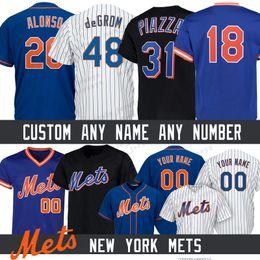 20 Pete Alonso Custom Nova Iorque Homens Mets jersey 48 Jacob deGrom 17 Keith Hernandez 18 Darryl Morango 52 Yoenis Cespedes Camisolas de Basebol de