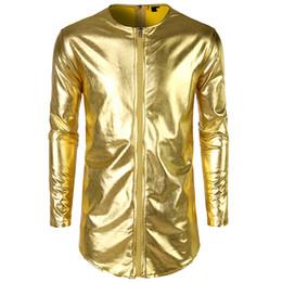 2019 brillanti vestiti estivi FeiTong Men Jacket New Fashion Viso luminoso anteriore anteriore doppia cerniera Estate Mens Abbigliamento Streetwear Giacca uomo 2019