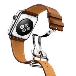 Canada Bande de boucle de déploiement Urvoi pour Apple Watch Series4 3 2 1 Bracelet pour ceinture Iwatch Design Single Swift Leather 38/40 42/44 mm T190620 supplier swift leather Offre