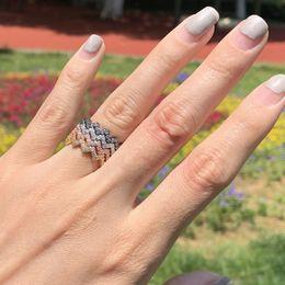 2019 anillo de onda esterlina Choucong Lindo Único Joyería de Moda Venta Caliente Anillo de la muchacha 925 Plata de leyBlack Gold Fill Pave Blanco Zafiro CZ Diamond Wave Band anillo anillo de onda esterlina baratos