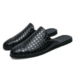 2019 men s woven leather shoes Halblederschuhe Herren-Trend Weben Hälfte zu Mann Außenhandel koreanische Version des 2019 Netto-rote Pantoffel atmungsaktive Beutelkopfes günstig men s woven leather shoes