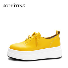 platform thick high heel gold shoes Promo Codes - SOPHITINA Round Toe High-quality Genuine Leather Casual Flats for Women Thick Cute Platform Heel Lace-up Solid Girl Shoes PO67