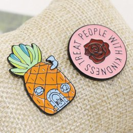 women lapel pin Promo Codes - Pineapple Ananas Brooches - TREAT PEOPLE WITH KINDNESS Flower Brooch Cartoon Enamel Lapel Pin badge For Women Girl Boy Kids