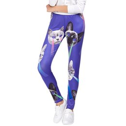 2dbc1c3e6 Ladies Cat Print Sports Leggings Yoga Workout Gym Sports Pants Stretch  Trouser Yoga Pants Ropa Deportiva Mujer Gym  ES