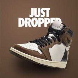 a6cb29a359 Nike Air Jordan Retro 1 High Og Ts Sp Hommes Chaussures De Basketball  Cactus Jack Suede Moka Foncé Hommes Femmes Authentic Sports Released 1s  Designer ...