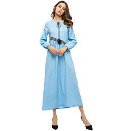 2019 arabische moslemische kleider Frauen Mode Kleid Plus Szie Muslim Langarm Krawatte Bogen Arabischen Kleid Islam Jilbab Elegantes Design Maxi Kleider Kleidung z0415 günstig arabische moslemische kleider