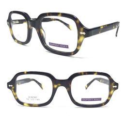 Шарниры для очков онлайн-Vintage Acetate Tortoise Spring Hinges Eyeglass Frames Square Full Rim Myopia Rx able Glasses Hand Made Optical  New