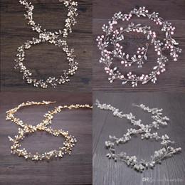 2019 rosa fascinatoren für haare Rosa Hochzeit Braut Kopfschmuck Brautjungfer Silber handgemachte Strass Perle Hairband Stirnband Luxus Haarschmuck Fascinators Tiara Gold