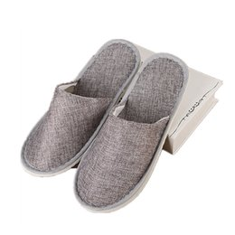 linen slippers Promo Codes - Disposable Slippers Hotel SPA Home Guest Shoes Yellow Grey Comfortable Breathable Soft Anti-slip Cotton Linen Free DHL