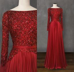 2019 vestidos formais celebridades desgaste Vestidos elegantes vermelhos 2019 Vestido Formal Wear frisada Evening vestidos de manga comprida celebridade vestidos de robe de soiree vestidos formais celebridades desgaste barato