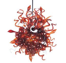 Estilo de Chihuly Araña de cristal rojo Salón Decoración Rojo Cristal de cristal de Murano Decorativo LED Colgando Araña personalizada desde fabricantes