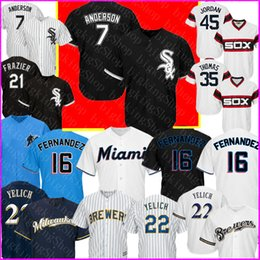 Milwaukee baseball jersey online-7 Tim Anderson Chicago White Sox # Jersey Milwaukee Brewers 22 Christian Yelich Miami Marlins 16 Jose Fernandez Baseball Maglie