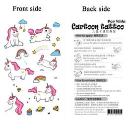 Autoadesivo ambientale a prova di acqua ambientale del giocattolo animale del fumetto falso variopinto variopinto dell'autoadesivo del tatuaggio dell'unicorno all'ingrosso per i bambini da tatuaggi neri di hennè fornitori