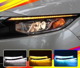 Para Honda Civic 2016 2017 Blink LEVOU Farol Sobrancelha Água Correndo Luz de Circulação Diurna DRL Com Sinal Amarelo de Fornecedores de honda luzes diurnas