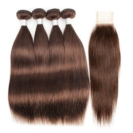 chocolate straight hair Promo Codes - #4 Chocolate Brown Brazilian Straight Hair Weave Bundles With Closure 3 4 Bundles with 2x6 Lace Closure Remy Human Hair extensions