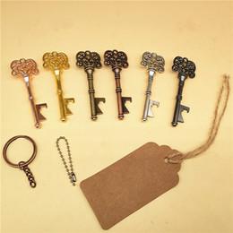 schlüssel offene flasche Rabatt Weinlese Keychain Öffner-Schlüsselketten-geformtes Bier-Flaschenöffner-Kokadosen-Öffnungs-Werkzeug mit Ring oder Kette oder Karte geben Verschiffen frei