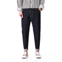 2019 японский стиль джинсов Japan Style New Harem Jeans Male Loose Fashion Casual Men's Denim Jeans Pants Solid color black Long Trousers 28-36 38 40 42 дешево японский стиль джинсов