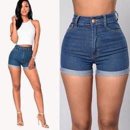 Jeans bleu serré en Ligne-Femmes Denim Jeans Shorts été solide à mi taille haute bleu Skin Tight Jeans Fashion Pantalons Skinny braguette