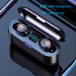 perlenkette kopfhörer Rabatt F9 TWS Drahtloser Kopfhörer Bluetooth V5.0 Ohrhörer Bluetooth Kopfhörer LED-Anzeige Mit 2000mAh Power Bank Headset Mit Mikrofon