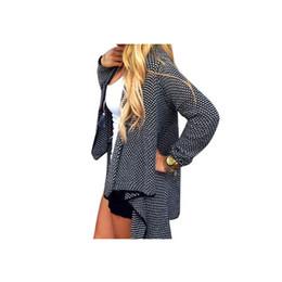 Chaqueta de punto de gran tamaño online-2019 más caliente de punto Cardigan Femenino Femenino Cardigans Mujeres Sólido Irregular sueter Oversized Cardigan Largo Suéter Mujer