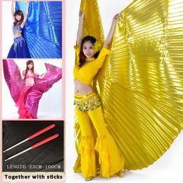 Steckt bauchtanz online-Bauchtanz Kostüm 360 Schmetterling Isis Wings Farbverlauf Bunte Bühnenaufführung Requisiten Schmetterlingsflügel Mit Sticks