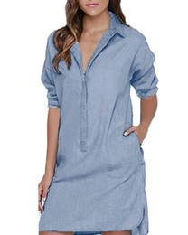 Jeans denim lunghi online-Camicia a bottoni in cotone da donna Mini abito Jeans a manica lunga di moda Dress Sexy Blue Denim