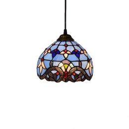 lámparas de calor de cocina Rebajas retro europeo de color lámpara de cristal azul barroca mediterránea creativa del vitral de Tiffany balcón Pasillo de cristal araña TF003