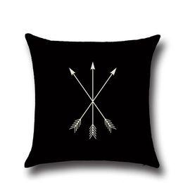 2019 almohada de fibra hueca Funda de almohada Patrón en blanco y negro Funda de almohada Algodón de lino Impreso 18x18 pulgadas Geometría Euro Fundas de almohada 45x45cm SSA26