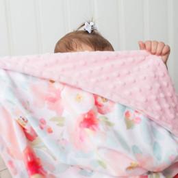 cobertor de swaddle simples Desconto Bebê Super macio da flor Cobertores Padrão infantil Stroller Minky com Double Layer pontilhada Fazendo receber cobertores recém-nascidos