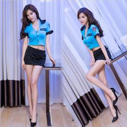 Uniforme de latex azul online-Disfraces de Halloween para mujer Señoras adultas, manga corta, oficial azul, uniforme de fiesta, traje sexy