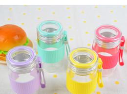 Canada 300 ml 4 couleurs verre bouteille d'eau résistant à la chaleur ronde amants enfants tasse de thé infuseur passoire gobelet DHL livraison gratuite Offre