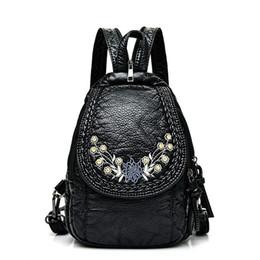 sacchetto di spalla del fiore nero Sconti Pelle Zaini Fiori ricamo Donne Zaino Piccolo morbido PU per ragazze adolescenti femminili Shoulder Bag pacco petto nero bolsa