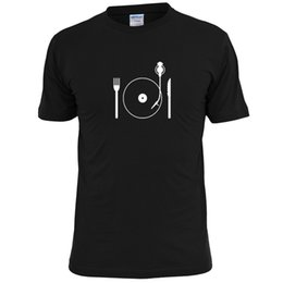 mens knifes Promo Codes - KNIFE AND FORK TURNTABLE MENS T SHIRT MUSIC VINYL Style Round Style tshirt