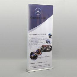 Рулонная печать баннера онлайн-Портативный роскошный алюминиевый Roll Up баннер двухсторонний Roll Up стенд с двойной 85x200cm баннер печать сумка для переноски упаковка