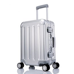 suitcase spinner Coupons - 100% Metal Luggage Aluminum Alloy Carry-Ons Rolling Luggage Suitcase High Strength Bag TSA Unlock Silver 20 Inch